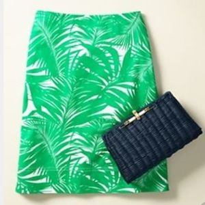 Talbots Skirt Palm Frond Leaves Print Size 4P